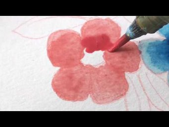 Watercolor Painting - Fluffy Flowers