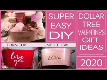 Dollar Tree Valentine's Gift Ideas - DIY Love Bucket - Easy & Inexpensive - No Spray Paint! Amaz