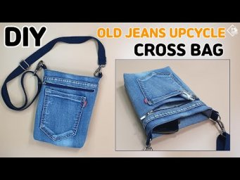 DIY Old jeans Recycle into Crossbody Bag/ Upcycle craft/ Old jeans bag ideas/ sewing tutorial