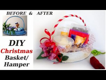 DIY Farmhouse Christmas Decor / Christmas Gift Basket / Holiday Hamper / Thrift Flip