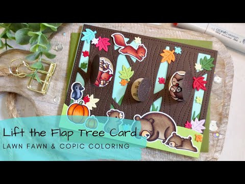 Lift the Flap Tree Card | Copic Coloring | Lawn Fawn
