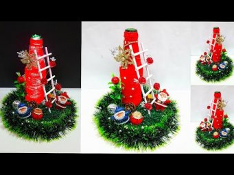Christmas showpiece made from bottle and cardboard |DIY Christmas craft ideas