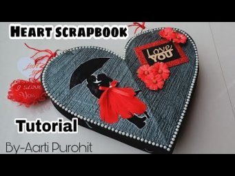 Valentines Day Scrapbook Tutorial||Valentines Day Special Scrapbook Tutorial||Heart shape Scrapbook