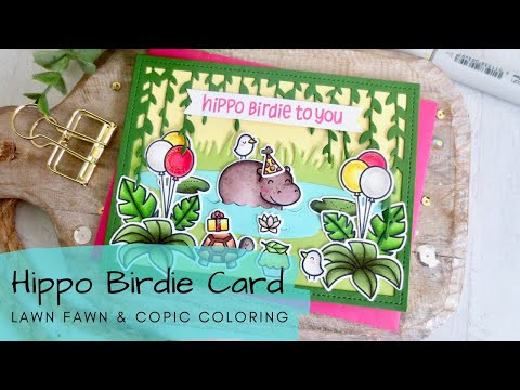 Hippo Birdie Card | Copic Coloring a Jungle Birthday Scene | Lawn Fawn