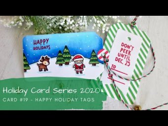 Holiday Card Series 2020 #19 | Copic Coloring Handmade Christmas Tags | Lawn Fawn