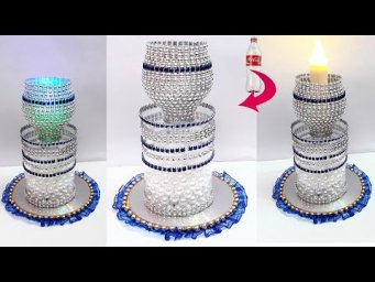 How to make Showpiece/Tealight holder from Plastic Bottle | Best out of waste room decoration idea