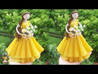 DIY Crepe paper  princess doll home decoration idea , easy paper princess doll
