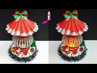 how to make Christmas Showpiece/lantern With Plastic Bottle |DIY Low budget Christmas  craft ideas