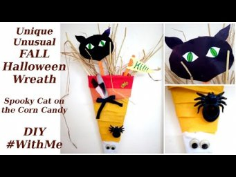 Spooky Cat On Corn Candy Unique Unusual Fall Halloween Wreath Door Hanger Farmhouse DIY #WithMe