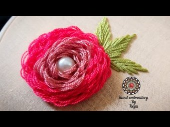 2020 | Hand embroidery by keya | Looped blanket stitch flower | Rose stitch tutorial