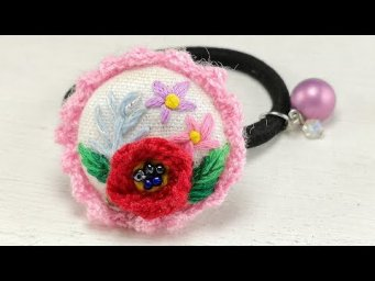 Hand Embroidery Ideas : Poppy Flower / Buttonhole Stitch / Hair Tie