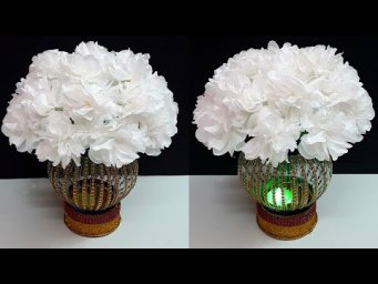 How to make Bouquet with tealight holder from Plastic bottle | Paper flowers Guldasta making idea