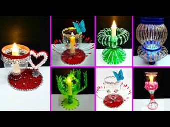 6 Economical Tealight Holder made with plastic bottle | Best out waste Christmas craft idea