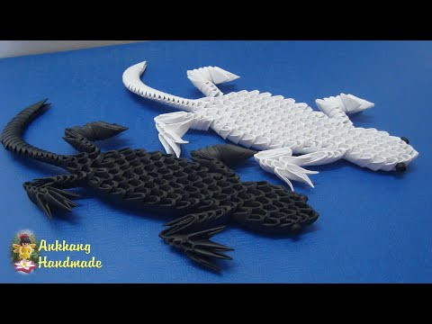 3d origami gecko tutorial | DIY paper miniature gecko home decoration idea